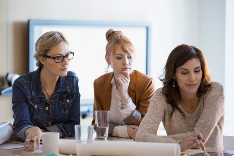 3 women working